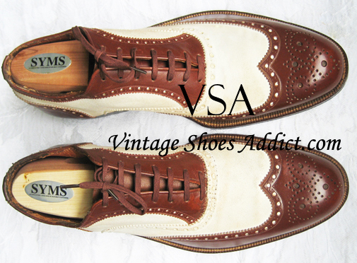 Black and White Wingtips Vintage style Spectator Shoes with Thin soles